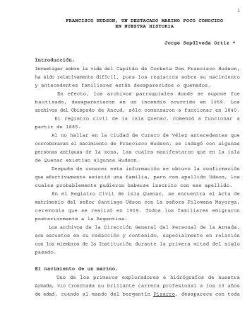 Francisco Hudson, un Destacado Marino poco ... - Revista de Marina
