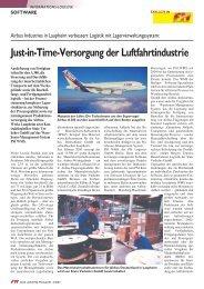 Just-in-Time-Versorgung der Luftfahrtindustrie - PSI Logistics GmbH