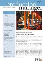 production manager 3/2011 - PSI Logistics GmbH