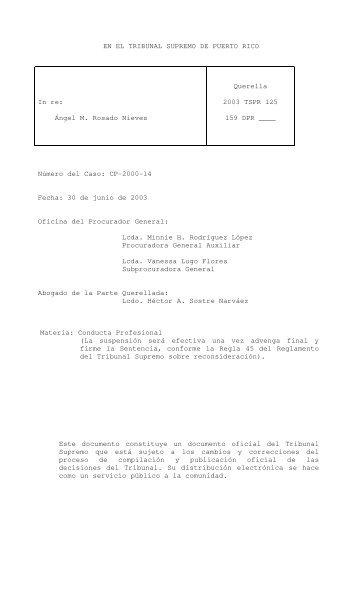 2003 TSPR 125 - Rama Judicial de Puerto Rico