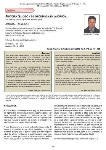 Anatomía del Oído y su Importancia en la - Asociación Argentina de ...
