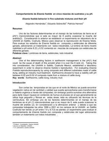 1 Comportamiento de Eisenia foetida en cinco mezclas de ... - uaaan