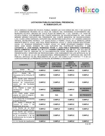 fallo licitacion publica nacional presencial n. sub2012/atl-01
