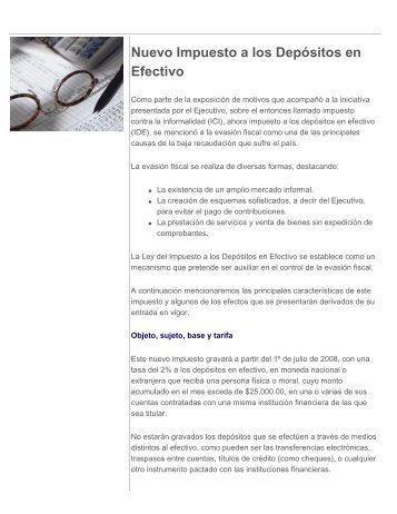 Nuevo Impuesto a los Depósitos en Efectivo - Boletín Fiscal