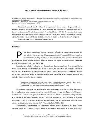MELODRAMA: ENTRETENIMENTO E EDUCAÇÃO MORAL ... - UFSJ