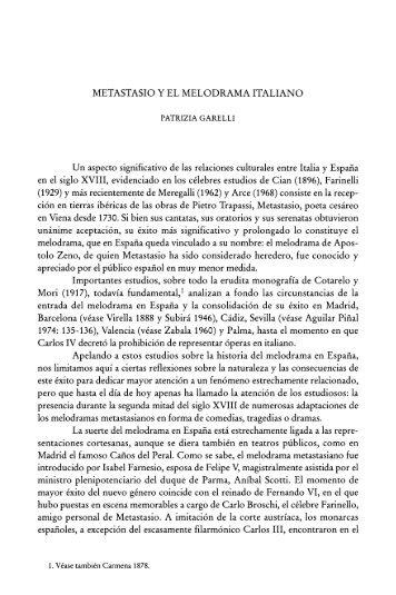METASTASIO Y EL MELODRAMA ITALIANO Un aspecto ... - Dialnet