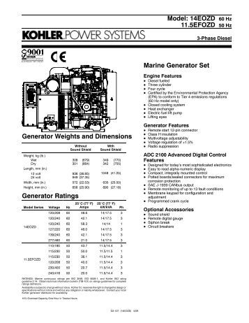 Model: 9EOZD 60 Hz 7EFOZD 50 Hz Marine Generator Set