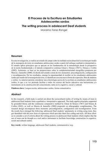 El Proceso de la Escritura en Estudiantes Adolescentes sordos The ...