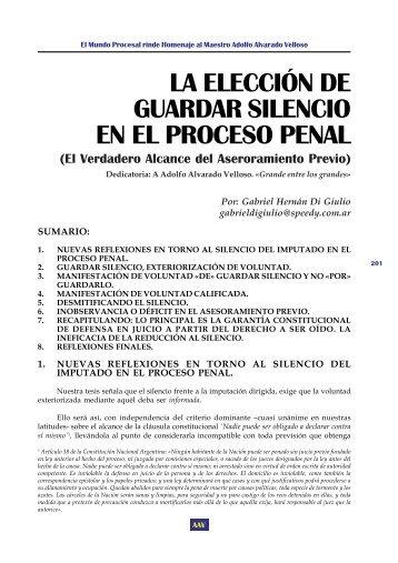 la elección de guardar silencio en el proceso penal - EGACAL