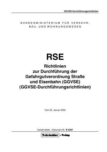 RSE Richtlinien zur Durchführung der Gefahrgutverordnung Straße ...