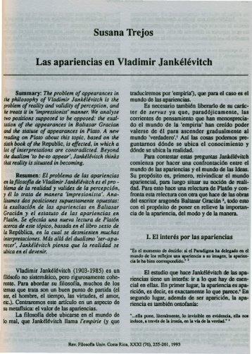 Susana Trejos Las apariencias en Vladimir Jankélévitch