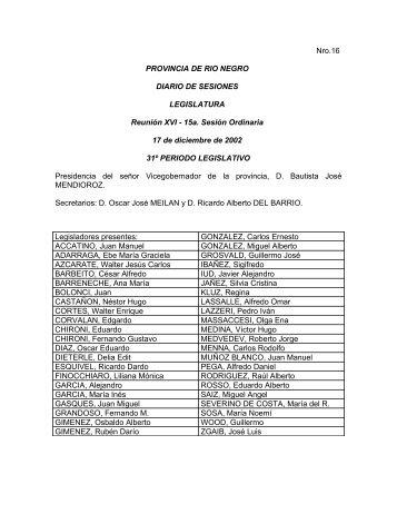 Nro.16 PROVINCIA DE RIO NEGRO DIARIO DE SESIONES ...