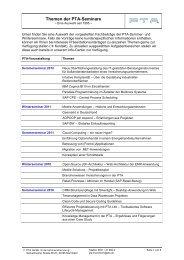 Themen der PTA-Seminare - PTA GmbH