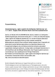 Agile Logistik mit intelligenter Optimierung - Publizistik Projekte