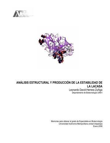 análisis estructural y producción de la estabilidad de la lacasa