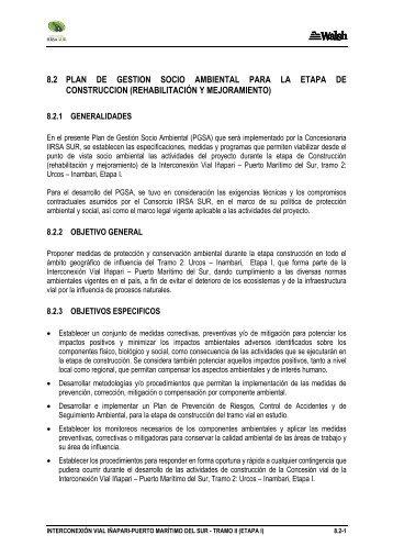 8.2 plan de gestion socio ambiental para la etapa de construccion