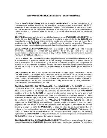 CONTRATO DE APERTURA DE CRÉDITO – CRÉDITO ROTATIVO