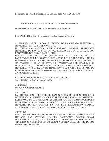 Reglamento de Tránsito Municipal para San Luis de la Paz. 26 ...