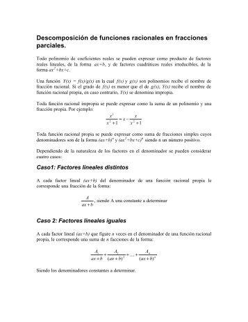 Funciones racionales ejercicios pdf