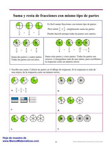 Sumar y restar fracciones con mismo tipo de partes - Mamut ...