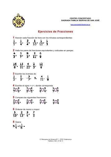 MATEMATICAS 2º ESO - Ejercicos de fracciones - Colegio Sagrada ...