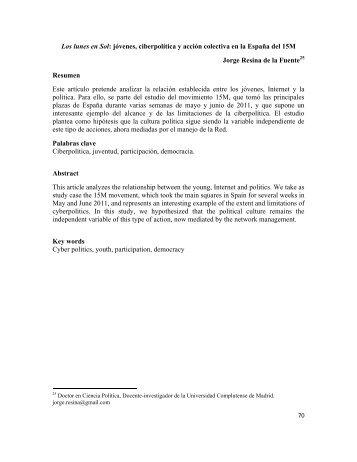 Los lunes en Sol: jóvenes, ciberpolítica y acción colectiva en la ...