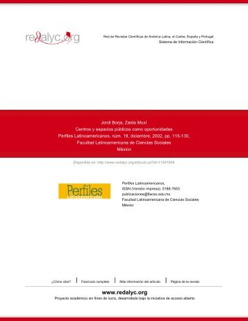 Redalyc.Centros y espacios públicos como oportunidades