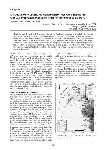 Distribución y estado de conservación del Cola-Espina de Cabeza ...