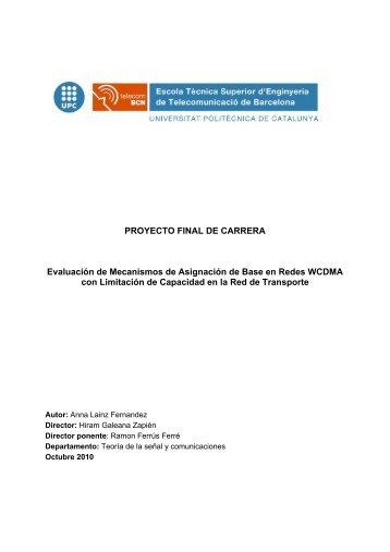 PROYECTO FINAL DE CARRERA Evaluación de ... - UPCommons