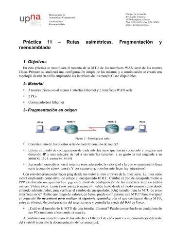 Práctica 11 – Rutas asimétricas. Fragmentación y reensamblado