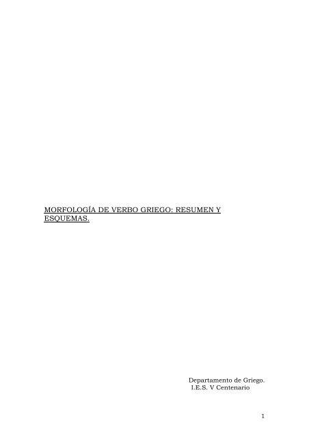 Morfología De Verbo Griego Resumen Y V Centenario