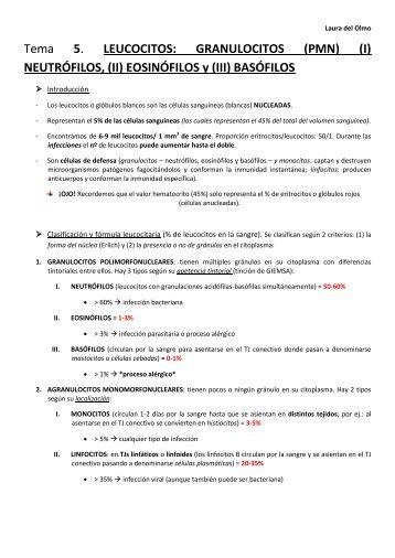 T5. Leucocitos. GRANULOCITOS.pdf - VeoApuntes.com
