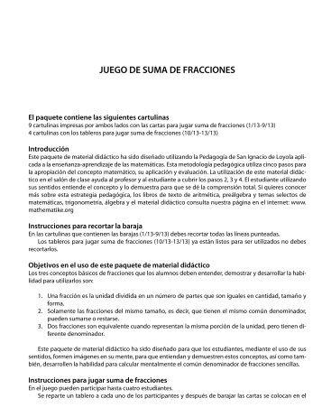 JUEGO DE SUMA DE FRACCIONES - Mathematiké