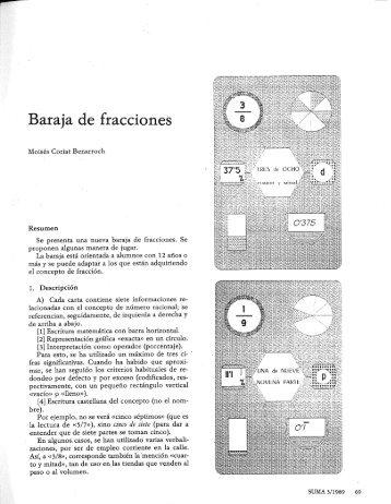Baraja de fracciones - SUMA Revistas de matemáticas