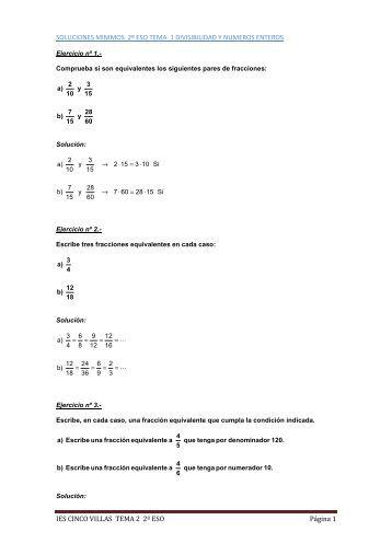 soluciones minimos 2º eso tema 2 fracciones - Matematicas 5 VILLAS