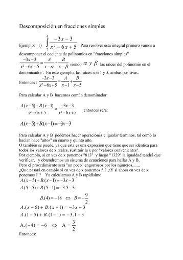 Descomposición en fracciones simples: ejemplos 1