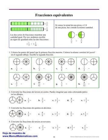 Fracciones equivalentes - Mamut matemáticas