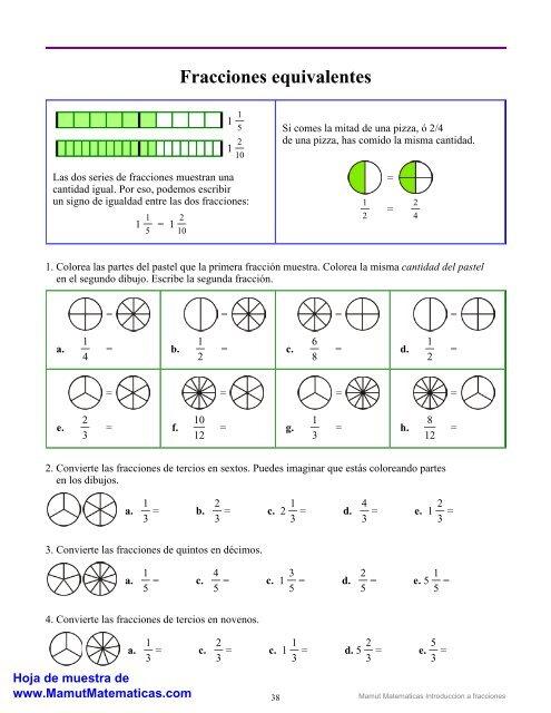 Fracciones Equivalentes Mamut Matemáticas