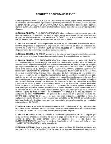 CONTRATO DE CUENTA CORRIENTE - Banco Caja Social