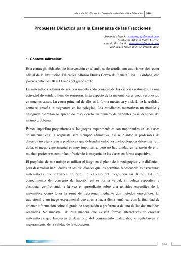 Propuesta Didáctica para la Enseñanza de las Fracciones - Funes