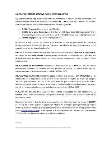 CONTRATO DE CRÉDITO ROTATIVO PYME Y CREDITO FIJO ...