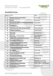 Sommermesse www.kluengeln-in-dortmund.de Ausstellerinnen