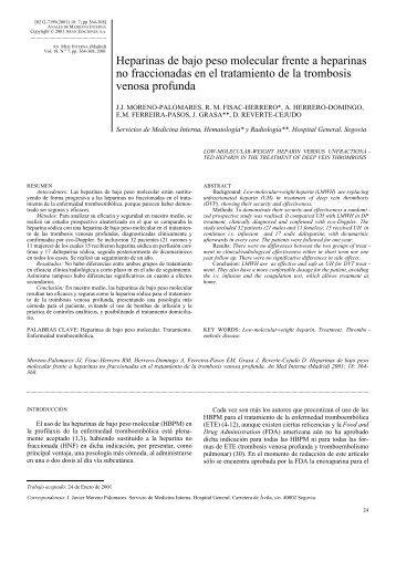 Heparinas de bajo peso molecular frente a heparinas no ...