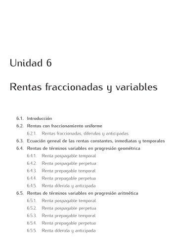 Unidad 6 Rentas fraccionadas y variables