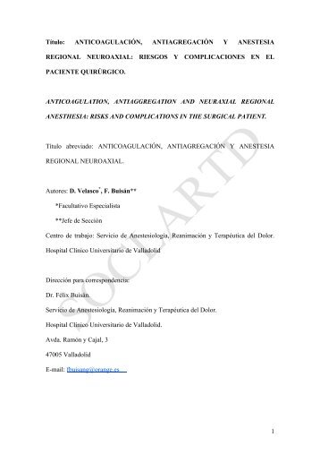 1 Título: ANTICOAGULACIÓN, ANTIAGREGACIÓN Y ANESTESIA ...