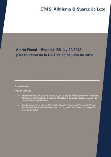 Especial RD-ley 20/2012 - CMS Albiñana & Suárez de Lezo