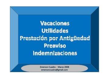 vacaciones, utilidades, prestaciones, preaviso e ... - guiasuba