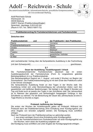 Praktikumsvertrag Erasmus Kittler Schule