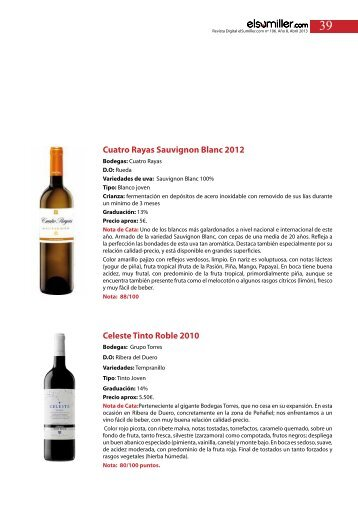 Cuatro Rayas Sauvignon Blanc 2012 Celeste Tinto ... - elsumiller.com