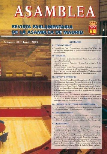 Número 20 • Junio 2009 N ú m ero 2 0 - Asamblea de Madrid